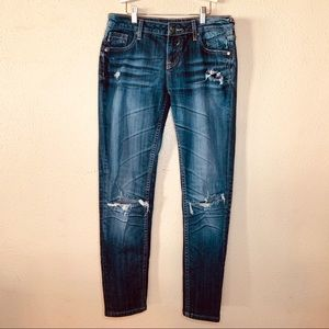 Vigoss dark-mid wash straight leg- skinny leg